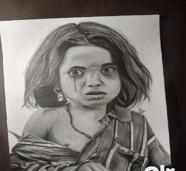 Sketch of poor girl