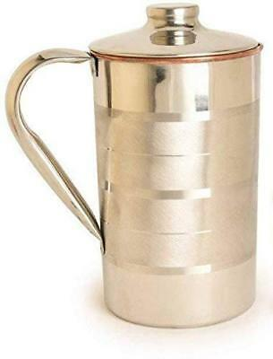 Copper and steel water jug pitcher, drinkware and