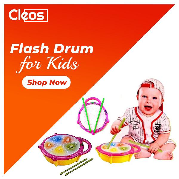 Battery operated musical multicolored flash drum cleos