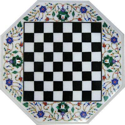 "18""x18"" black marble chess table inlay handmade craft"