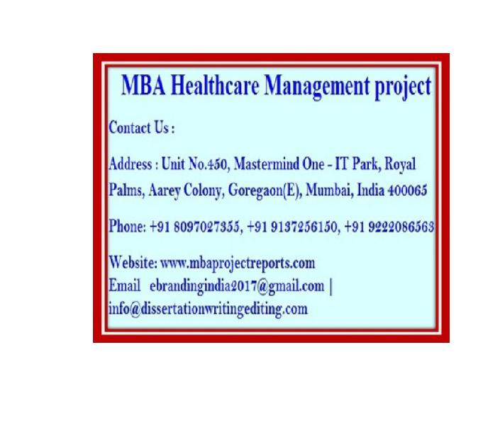 Mba healthcare management project