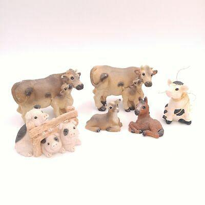 Lot of 6 stone critters farm animals - pigs, cow, calf,