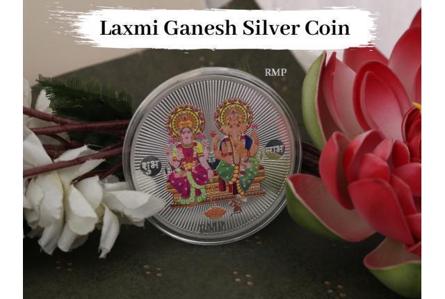 Buy customized laxmi ganesh silver coins for diwali