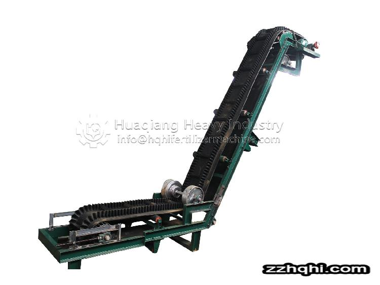 Large angle belt conveyor in organic fertilizer production