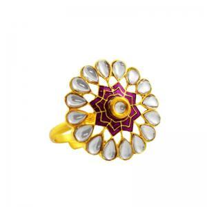 Buy fashion kundan meenakari finger rings for women online