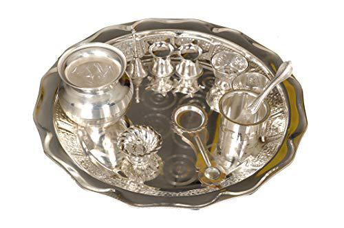 Buy german silver pooja thali set online at low cost