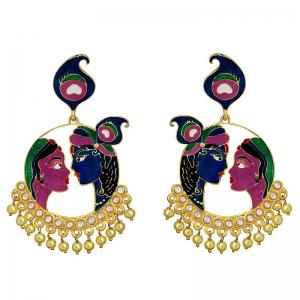 Buy kundan meenakari earrings online from mk jewellers