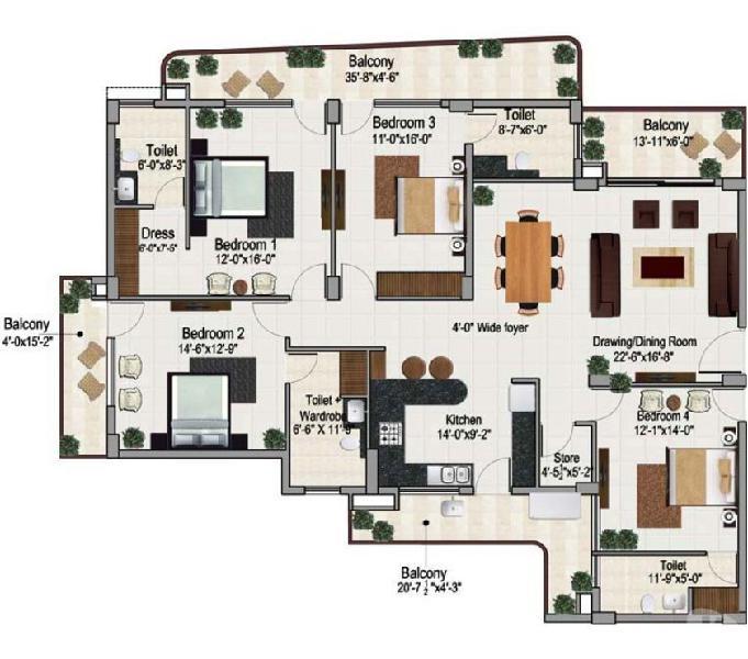 Eco friendly 4 bhk semi furnished luxury apartment