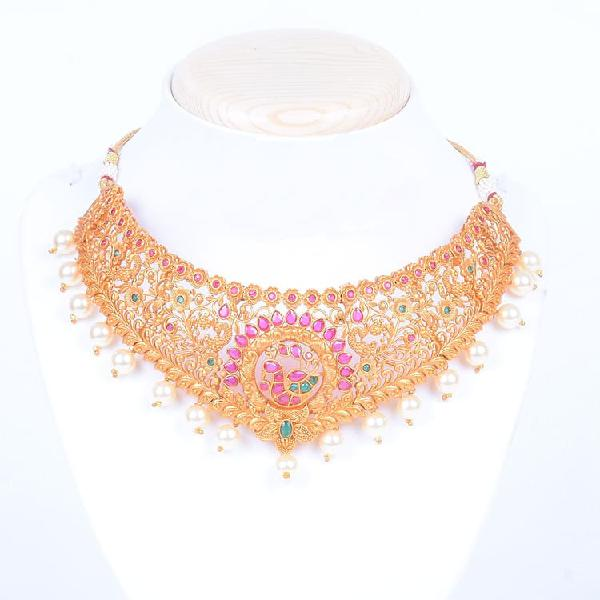 Gold plated choker necklace for women and girls