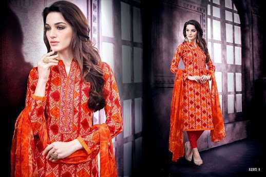 Elegant aza cotton printed top from chocolate by sargam