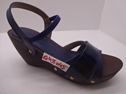 Ladies pu high wedge black sandal