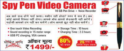 Spy pen video camera, 16 gb spy pen camera, hidden spy