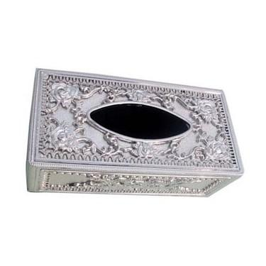 Royal tissue box holder in silver color at best price