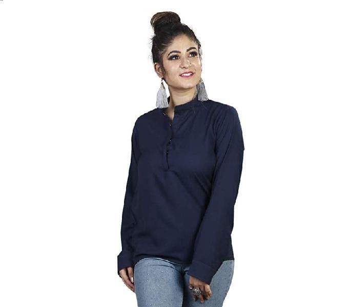 Rajkumari women's summer cool unlined stand collar navy blue