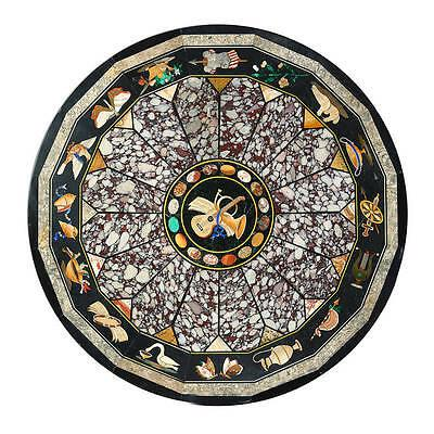 3' black round marble inlay table pietra dura dining side