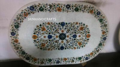 4'x2.5' white marble table top dining center inlay lapis