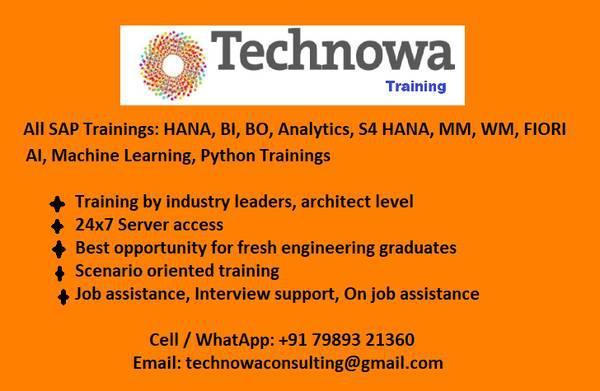 All sap modules training: hana, s4, bi, analytics, bo, mm,