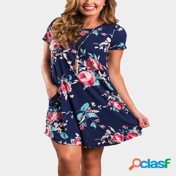 Navy floral print short sleeves dress with curved hem