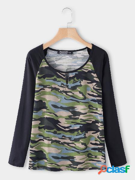 Camouflage cut out round neck long sleeves t-shirt