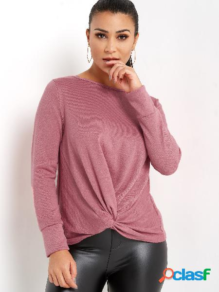 Pink crossed front design round neck long sleeves knitted top