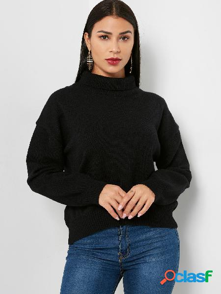 Casual black plain roll neck long sleeves sweaters