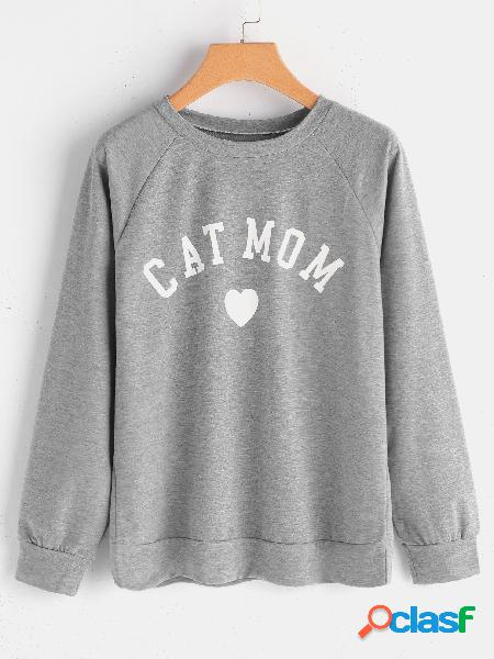 Light grey letter round neck long sleeves casual sweatshirt