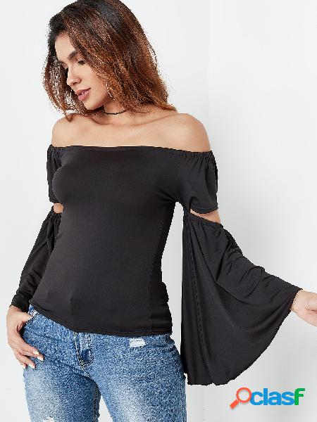 Black Cut Out Off The Shoulder Bell Sleeves Blouse