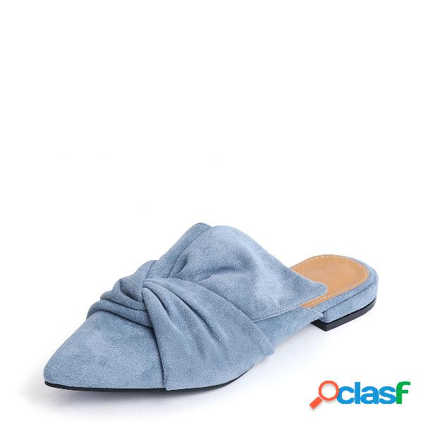 Blue point toe suede slippers