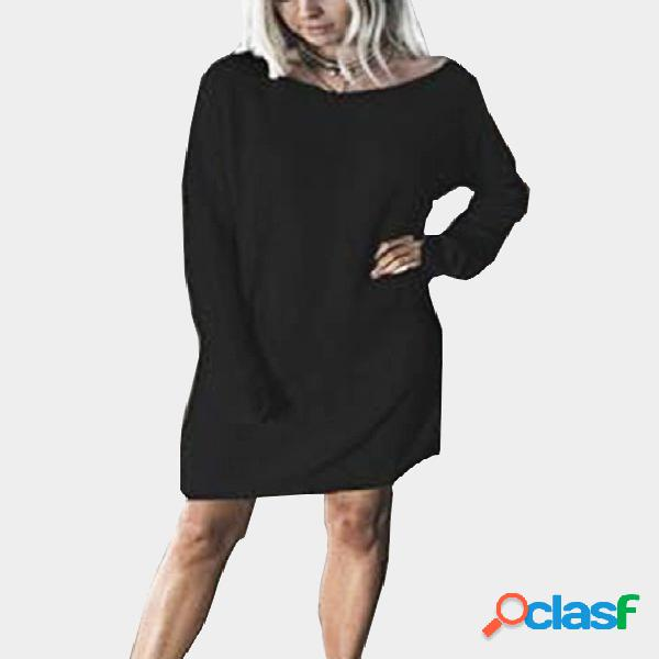Casual knitted dolman tee dress in black