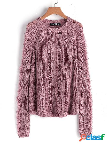 Pink hollow design round neck long sleeves sweater