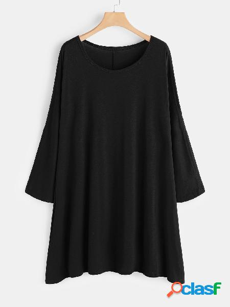Black hollow design round neck long sleeves midi dress