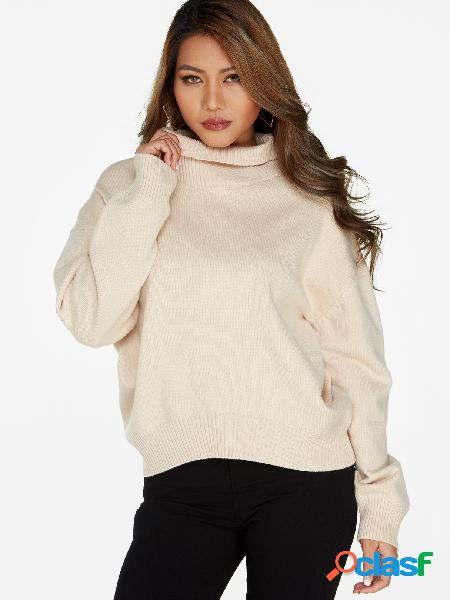 Casual apricot plain roll neck long sleeves sweaters