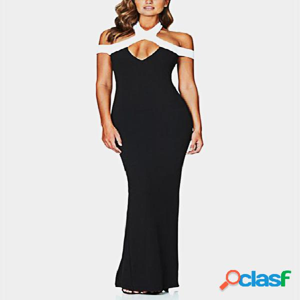 Black cut out cold shoulder sleeveless party dress