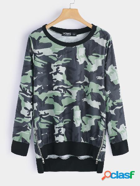 Camouflage zipper design round neck long sleeves top