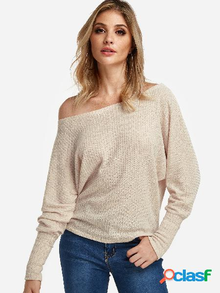 Beige plain one shoulder long sleeves tee