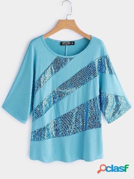 Blue sequins embellished round neck bat sleeves t-shirt