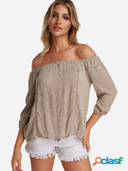 Apricot hollow design off the shoulder long sleeves blouse
