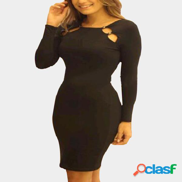 Black Cut Out Round Neck Long Sleeves Bodycon Dress