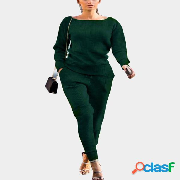 Green round neck long sleeves elastic drawstring wasit ribbed gym outfit