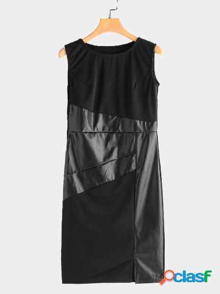 Black round neck leather stitching sleeveless midi dress