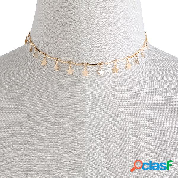 Gold star detail choker necklace