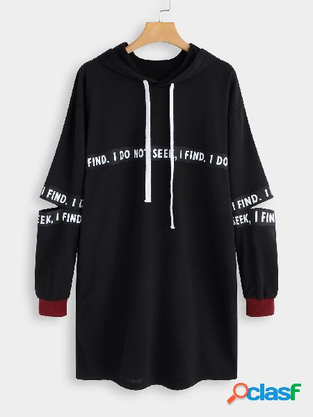 Black Cut Out Letter Pattern Long Sleeves Hooded Dress