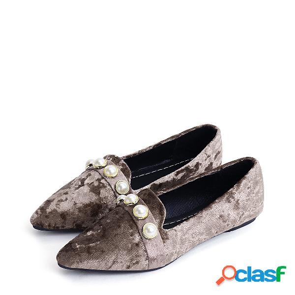 Khaki Faux Pearl Point Toe Suede Flats