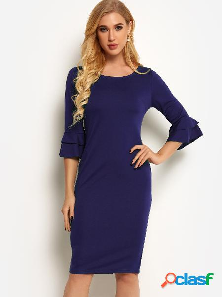 Navy round neck bell sleeves bodycon dress