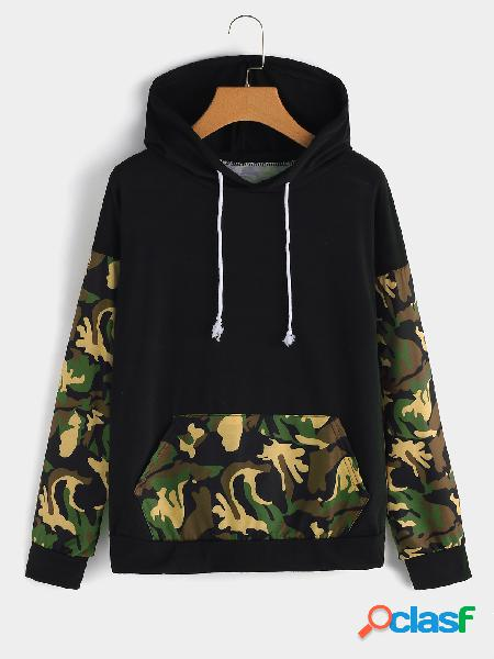 Color block camouflage pullover long sleeves hoodie