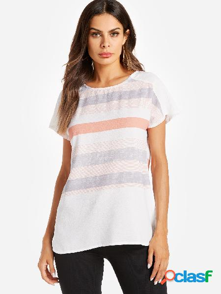 Casual orange stripe pattern stitching blouse