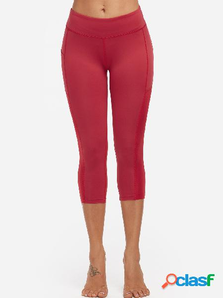 Red middle-waisted active bottoms