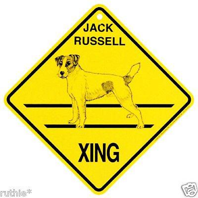 Jack russell terrier dog crossing xing sign new