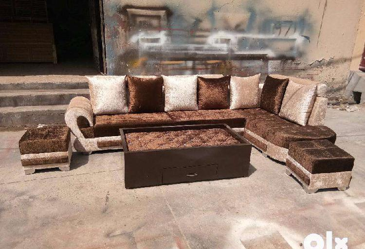L shape sofa set with center table & 2 puffies