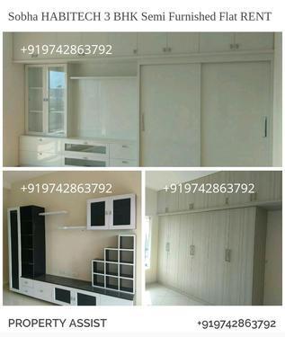 Sobha habitech 3 bhk semi furnished flat for rent